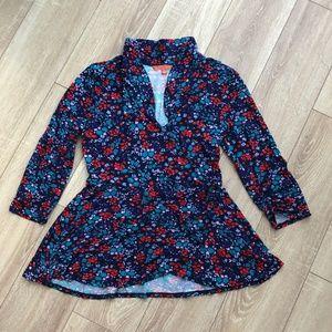 Modcloth Blue Floral Faux Wrap Peplum Top Medium